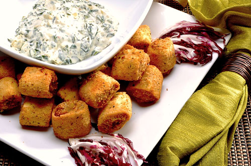 Chicken and Artichoke Cannelloni Bites with Spinach and Artichoke Dip