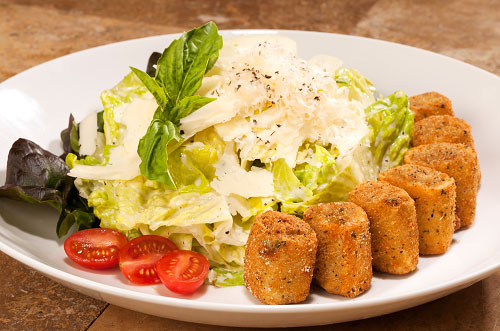 Chicken and Artichoke Cannelloni Bites with Caesar Salad