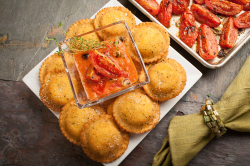 Breaded Beef Ravioli with Roasted Tomato Dip