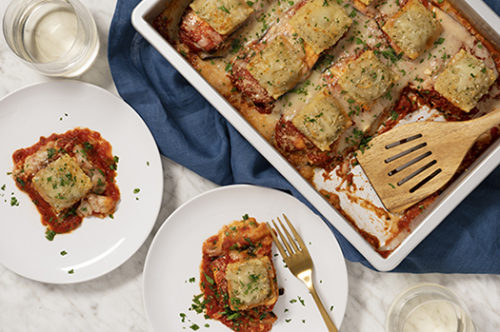 Layered Eggplant Parmesan Breaded Beef Ravioli Recipe Photo