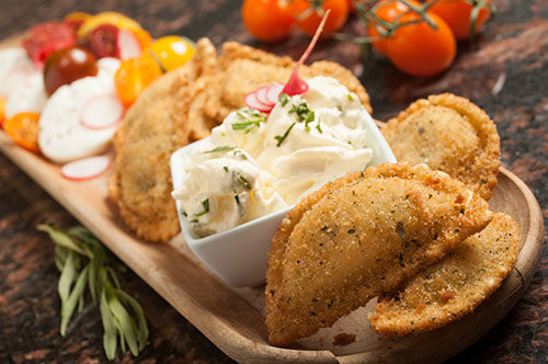 Breaded Caprese Ravioli with Whipped Goat Cheese and Tarragon Dip Recipe Photo