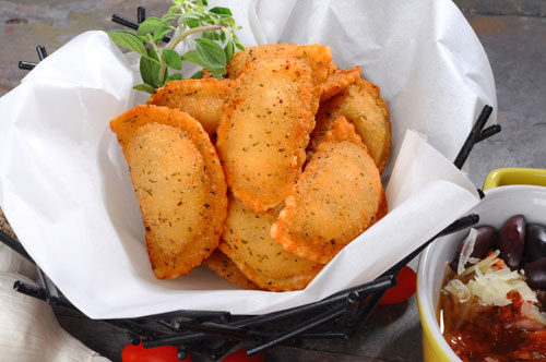 Breaded Caprese Ravioli with Muffuletta Style Olive Salad Recipe Photo