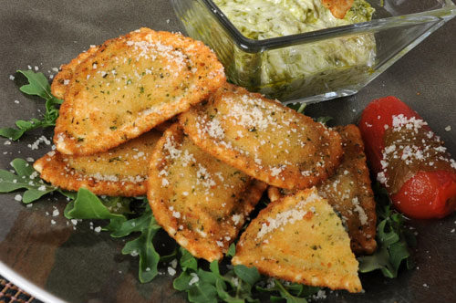 Breaded Caprese Ravioli with Lemon-Artichoke Dip Recipe Photo