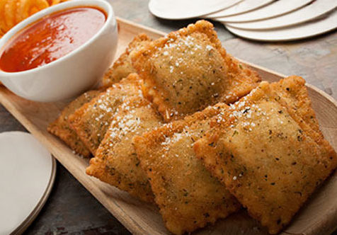 Breaded Four Cheese Toasted Ravioli with Vodka Sauce Recipe Photo
