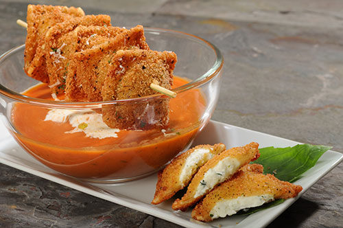 Breaded Four Cheese Ravioli with Tomato Basil Soup Recipe Photo