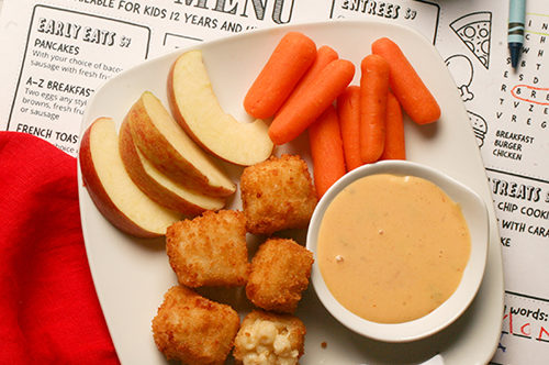 Bacon Mac & Cheese Bites Kids Meal with Cheddar Ranch Dipping Sauce