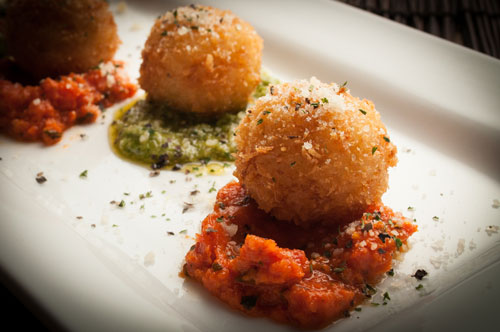 Cheese Risotto Bites with Roasted Pepper Pesto & Arugula Pesto