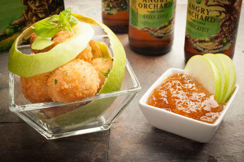 Spicy Sausage Risotto Bites with Angry Orchard Apple Cider Beer Dip