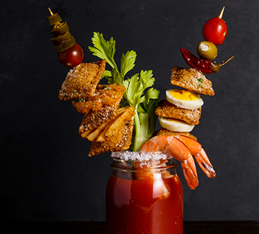 "Loaded ""Buffalo Style"" Bloody Mary with Toasted Buffalo Chicken Ravioli"