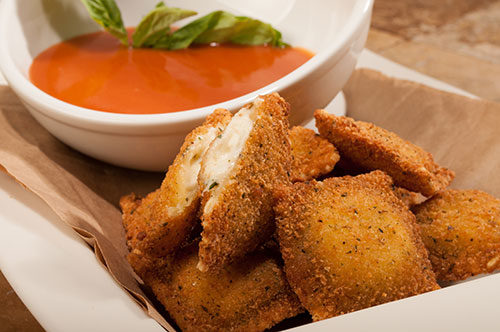 Toasted Four Cheese Ravioli with Tomato Soup