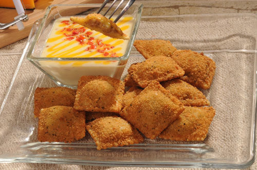 Toasted Sausage Ravioli with Pepper Jack Dipping Sauce