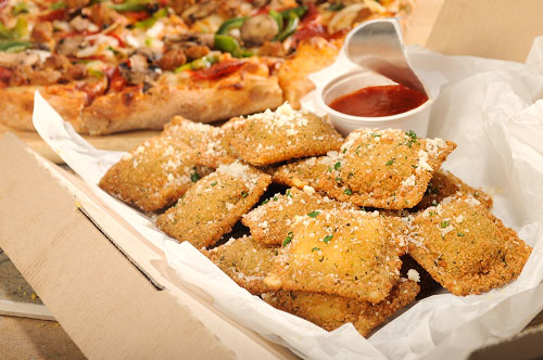 Toasted Sausage and Cheese Ravioli with Pizza Sauce