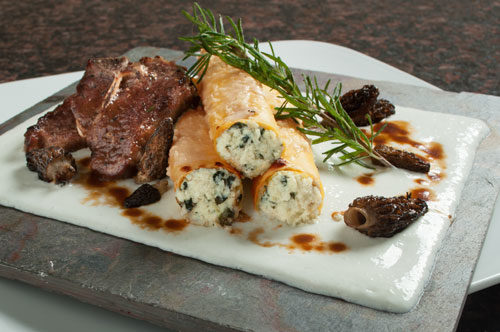 Manicotti Florentine with Lamb Loin Chops, Morel Mushrooms, Béchamel and Rosemary