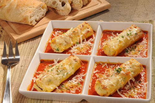 "Manicotti Florentine with ""Pomodoro"" and ""Caciotta"" Cheese"