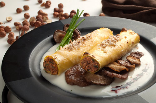 Beef & Pork Cannelloni with Shiitake Mushrooms, Hazelnuts and Gorgonzola Dolce Sauce