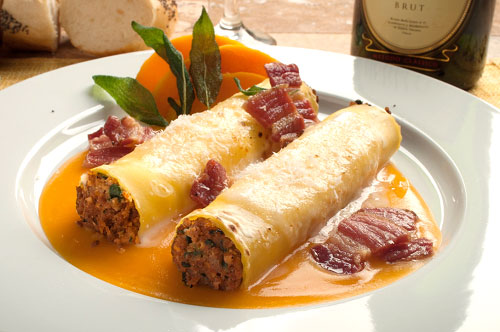 Beef & Pork Cannelloni with Butternut Squash Veloute, Salted Pork Belly and Flash Fried Sage