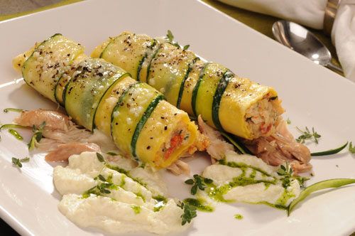 Roasted Chicken Cannelloni with Zucchini Mousse and Chicken Confit