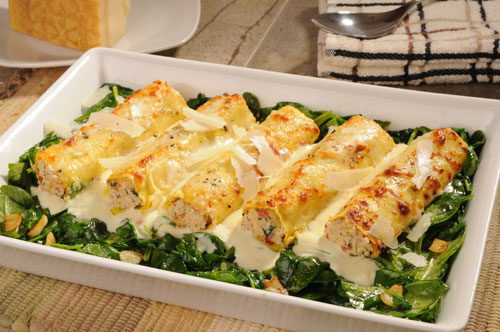 Roasted Chicken Cannelloni with Parmigiano Reggiano Cream and Wilted Spinach