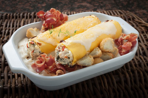 Roasted Chicken Cannelloni with Artichoke Béchamel and Pancetta Curls