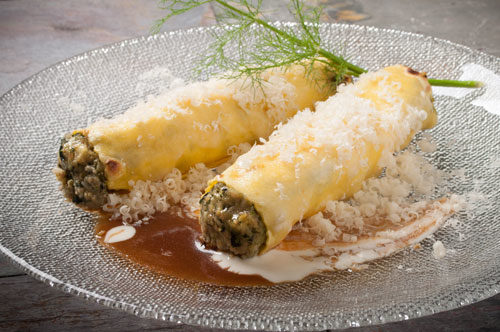 "Cannelloni Florentine with Veal Demi and ""Spuma al Parmigiano Reggiano"""