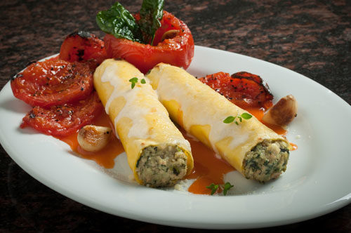 Cannelloni Florentine with Roasted Tomatoes and Smoked Mozzarella Cheese