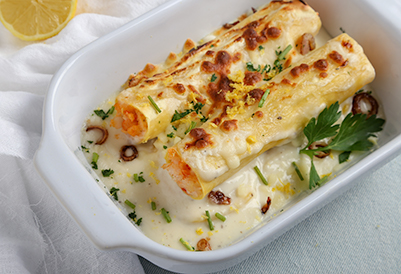 Lobster, Shrimp, and Scallop Cannelloni Thermidor