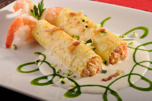 Lobster, Shrimp, & Scallop Cannelloni with Zucchini, Crispy Pancetta and Shrimp in Brandy Cream and Parsley EVO