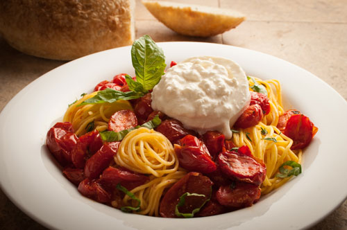 Angel Hair with Burrata Mozzarella and Roasted Cherry Tomatoes