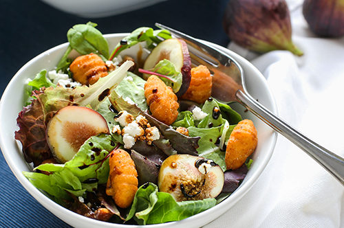 Fall Salad with Fried Butternut Squash Gnocchi