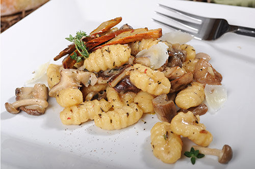 Potato Gnocchi with Wild Mushrooms and Piave Stravecchio
