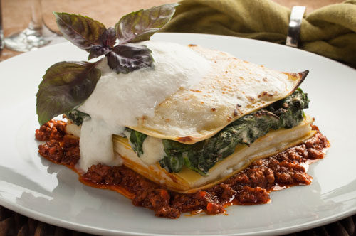 Tri Color Lasagna with Parmigiano  Reggiano Spuma