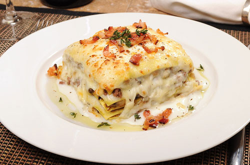 White Lasagna with Braised Beef, Fontina, Mushrooms, White Truffle Oil and Pancetta