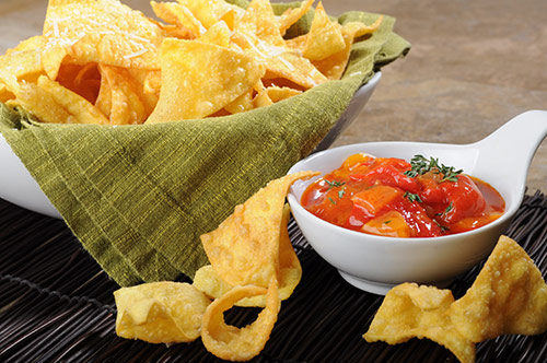Flash Fried Pasta Chips with Smoked Peppers