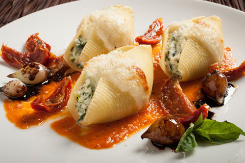 Florentine Stuffed Shells with Roasted Tomato Sauce and Balsamic Pearl Onions