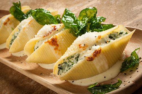 "Florentine Stuffed Shells with Flash Fried Spinach and Truffled""Crescenza"" Cream"