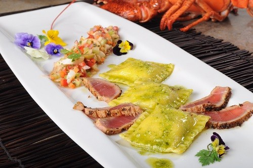 Genovese Pesto Cheese Ravioli with Blackened  Ahi Tuna, Octopus Salad & Basil Oil