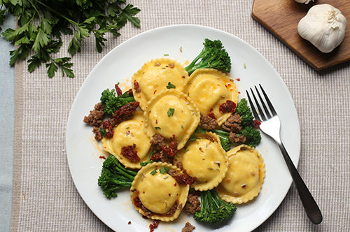 Cheese Ravioli with Broccolini, Sausage, and Sun-Dried Tomatoes