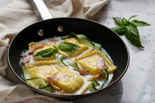 Large Square Four Cheese Ravioli with Prosciutto & Zucchini Ribbons in Asiago Cream
