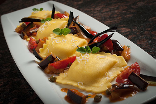 "Large Square Four Cheese Ravioli ""alla Norma"""