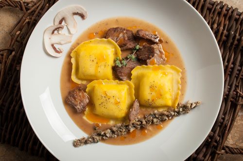Fonduta Large Square with Braised Short Ribs and Mushroom Broth