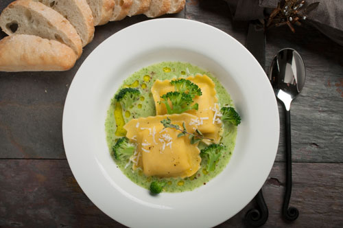 Fonduta Large Square Ravioli with Broccoli Vichyssoise