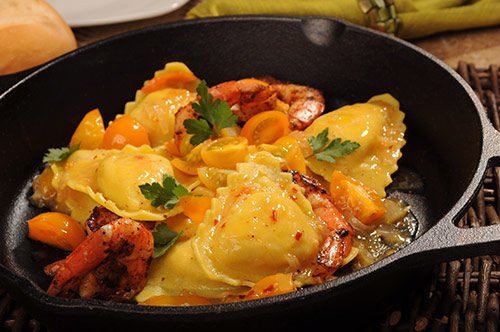 Smoked Mozzarella Ravioli with Blackened Shrimp