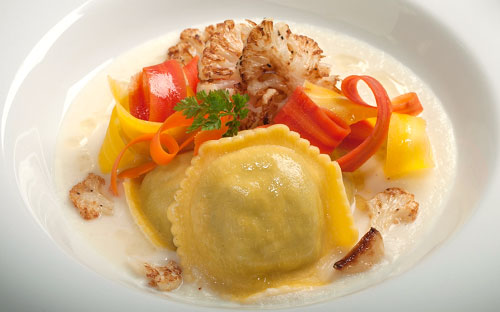 Chicken and Portabella Ravioli with Roasted Garlic Cauliflower Velouté, and Tricolor Carrots