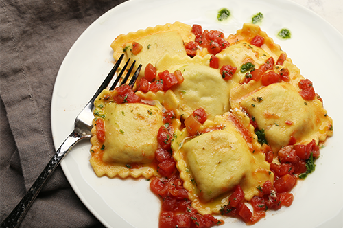 Beef Ravioli with Homemade Fresh Marinara Sauce