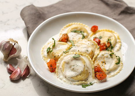 Italian Sausage Ravioli with Basil Cream