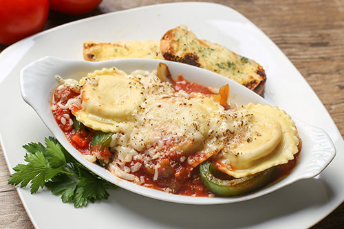 Italian Sausage Ravioli Easy Bake with Peppers & Onions