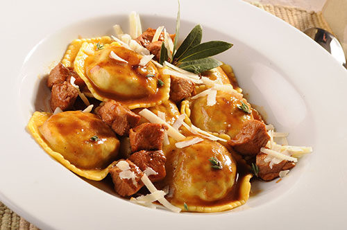 Veal and Portabella Ravioli with Bordelaise