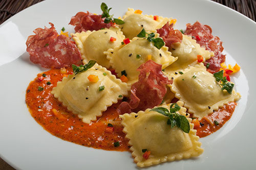 Beef Ravioli with Passata di Pomodoro and Crispy Mortadella