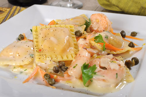Lobster and Shrimp Ravioli with Meyer Lemon Cream