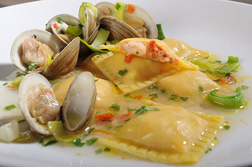 "Lobster and Shrimp Ravioli with ""Vongole Veraci"" and Leeks"